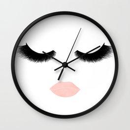 eyelashes with pink lips Wall Clock