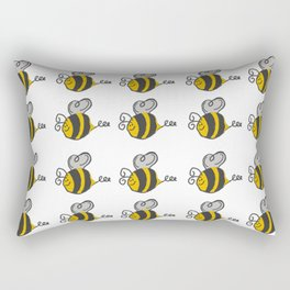 Hand drawn black yellow stripes cute honey bee illustration Rectangular Pillow