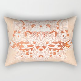 Happiness Mandala Metallic Rose Gold Beige Rectangular Pillow