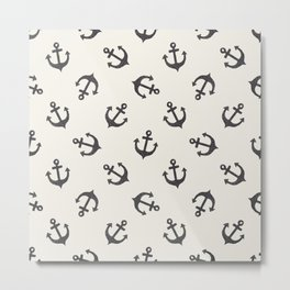 Black & White Anchors Away Metal Print