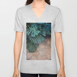 Monstera Print, Tropical Green Beauty Unisex V-Neck