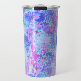 TIME FOR BUBBLY, AGAIN - Pastel Turquoise Baby Blue Purple Pink Feminine Bubbles Abstract Painting Travel Mug