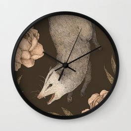 The Opossum and Peonies Wall Clock
