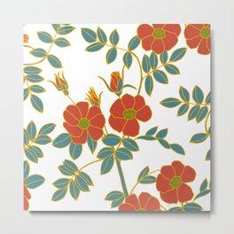 Floral Bouquet, Line Drawing, Folksy Metal Print