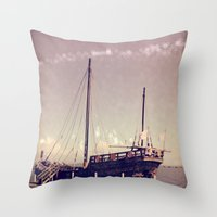 pirate ship Throw Pillows featuring Pirate Ship by Apples and Spindles