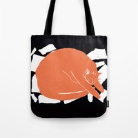 fat Tote Bags featuring Fat Cat by The Printed Peanut