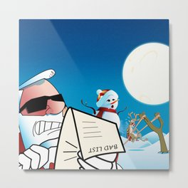 Life at the North Pole - Snowman, Santa Claus and reindeer Metal Print