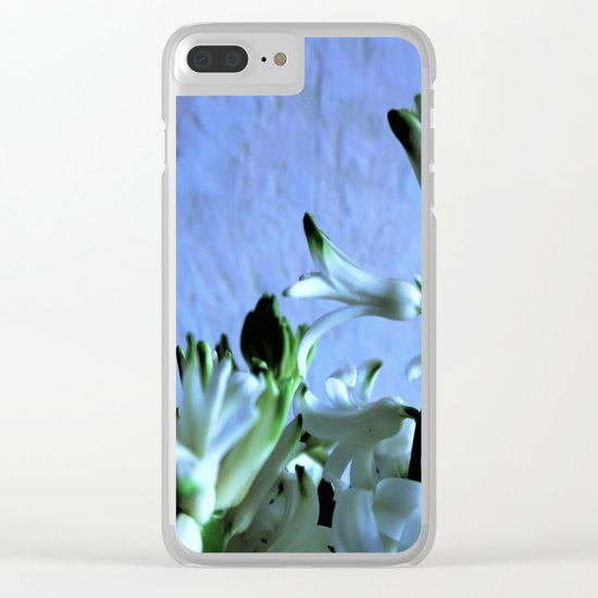 white hyacinthe on light blue background Clear iPhone Case
