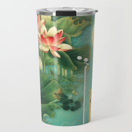 Chinese Lotus Full Moon Garden :: Fine Art Collage Travel Mug