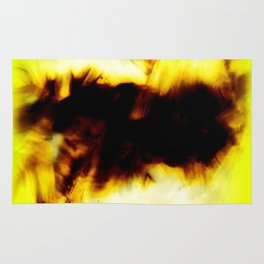 Hole In My Heart Black White Yellow Abstract Rug