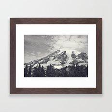 Mount Rainier B&W Framed Art Print