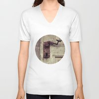 door V-neck T-shirts featuring door by Deviens
