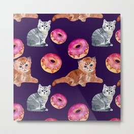 Kittens and donut Metal Print