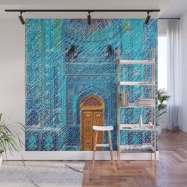 Blue Tile Mosaic Mosque Portrait - Sultan Ahmed Mosque by Jéanpaul Ferro Wall Mural