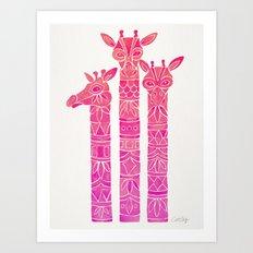 Giraffes – Pink Ombré Art Print