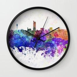 Hiroshima skyline in watercolor background Wall Clock