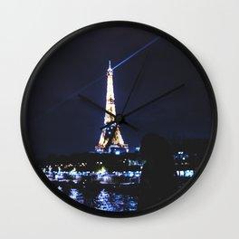 Night over Paris Wall Clock