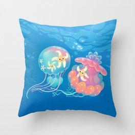 Jellyfish bus Throw Pillow