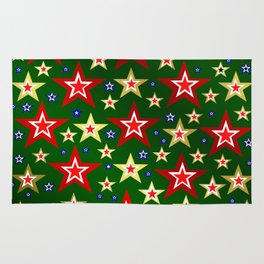 grenn,blue,gold,red stars xmas pattern Rug