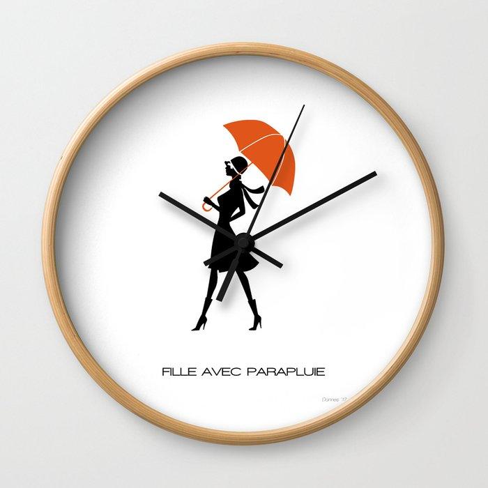 Fille Avec Parapluie Wall Clock