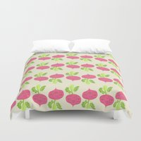 vegetable Duvet Covers featuring VEGETABLE-RADISH! by Claudia Ramos Designs