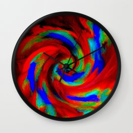 Red Blue Green Fireball Sky Explosion Wall Clock