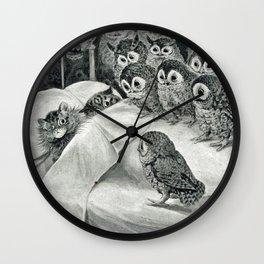 Louis Wain Cat Nightmare Owl Bird Wall Clock