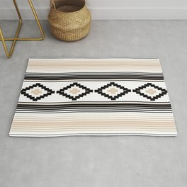 Modern Mexican Serape in Tan Rug