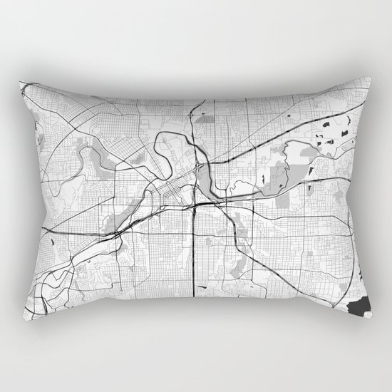 Fort Worth Map Gray Rectangular Pillow