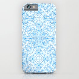 Icy Blue Vintage Pattern iPhone Case