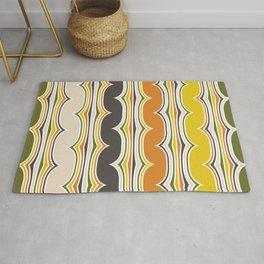Geometric Art, Colorful Stripes, Orange, Yellow, Beige, Retro Art Rug