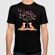 Fox love- foxes animal nature _ Watercolor illustration on #Society6 Mens Fitted Tee Black SMALL