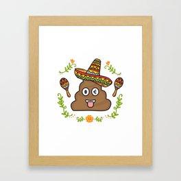 Emoji Poop Cinco De Mayo Funny Framed Art Print