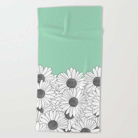 Daisy Boarder Mint Beach Towel