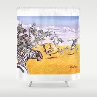 camouflage Shower Curtains featuring camouflage by Rose Rigden