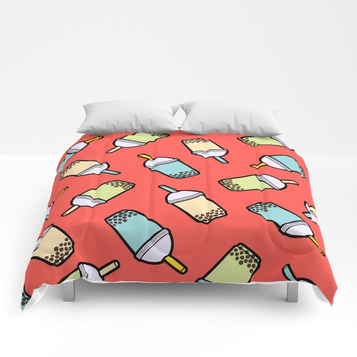 Bubble Tea Pattern in Red Comforters
