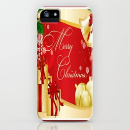 Merry Christmas Greeting With Gifts Bows And Ornaments iPhone Case