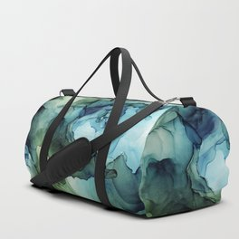 Land and Water Abstract Ink Painting Blues and Greens Duffle Bag