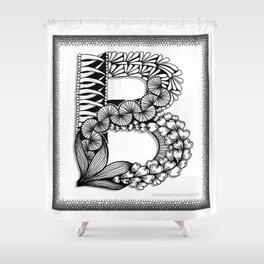 Zentangle B Monogram Alphabet Initial Shower Curtain