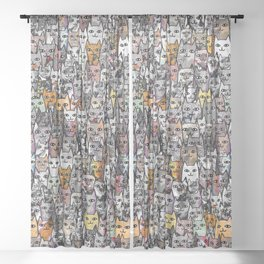 Gemstone Cats - Gold Sheer Curtain