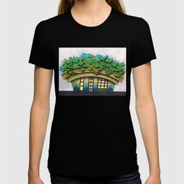 Rooftop Garden Architectural Illustration T-shirt