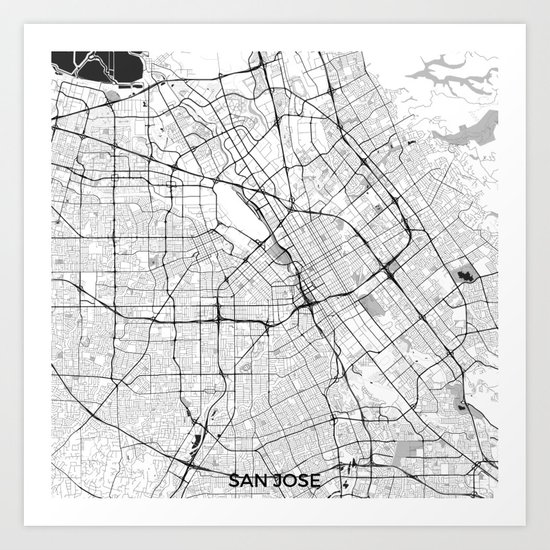 San Jose Map Gray Art Print