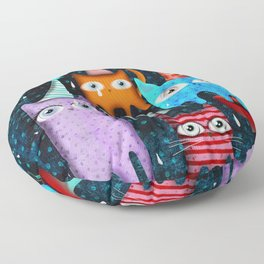 Raining Night Cats Party Floor Pillow