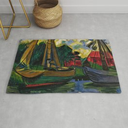 Boats in the Harbor by Hermann Max Pechstein Rug