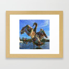 Dream Creatures, Swan, DeepDream Framed Art Print