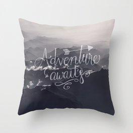 Adventure awaits Typography Gorgeous Mountain View Throw Pillow