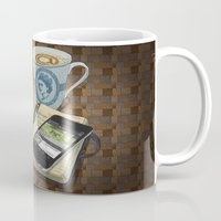 internet Mugs featuring Internet Addict by Sally Renshaw