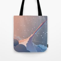 rocket Tote Bags featuring Rocket by TheNewVision