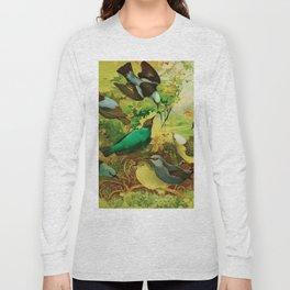 Amazonian birds by Göldi & Emil August, 1859-1917 Belem Brazil Colorful Tropical Birds Illustration Long Sleeve T-shirt