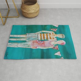 Swimmer art, beach painting, couple art, teal and pink art Rug
